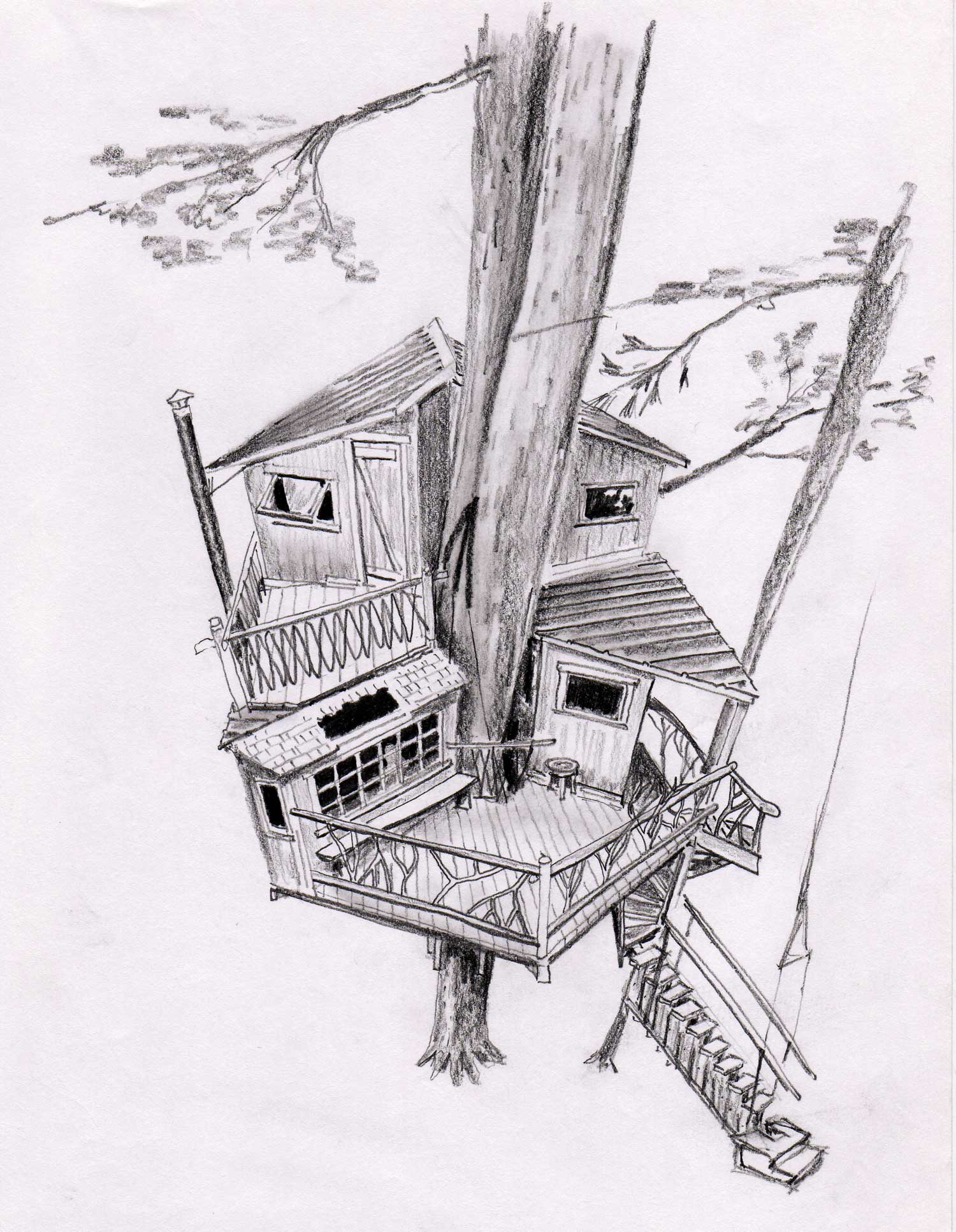 architecture-beautiful-tree-house-sketch-with-elegant-patio-and-unique-roof-top-design-also-staircase-cool-tree-house-designs